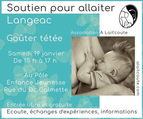 Goûter tétée à Langeac le samedi 19-01-2019, organisée par A Lait'coute : rencontre gratuite de soutien pour allaiter en Haute-Loire