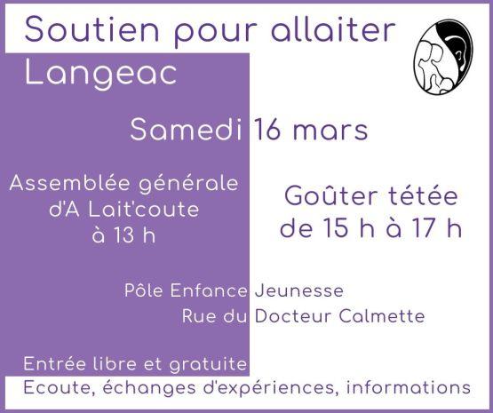 Visuel d'annonce de la rencontre allaitement maternel et de l'Assemblée Générale d'A Lait'Coute à Langeac le 16 mars 2019