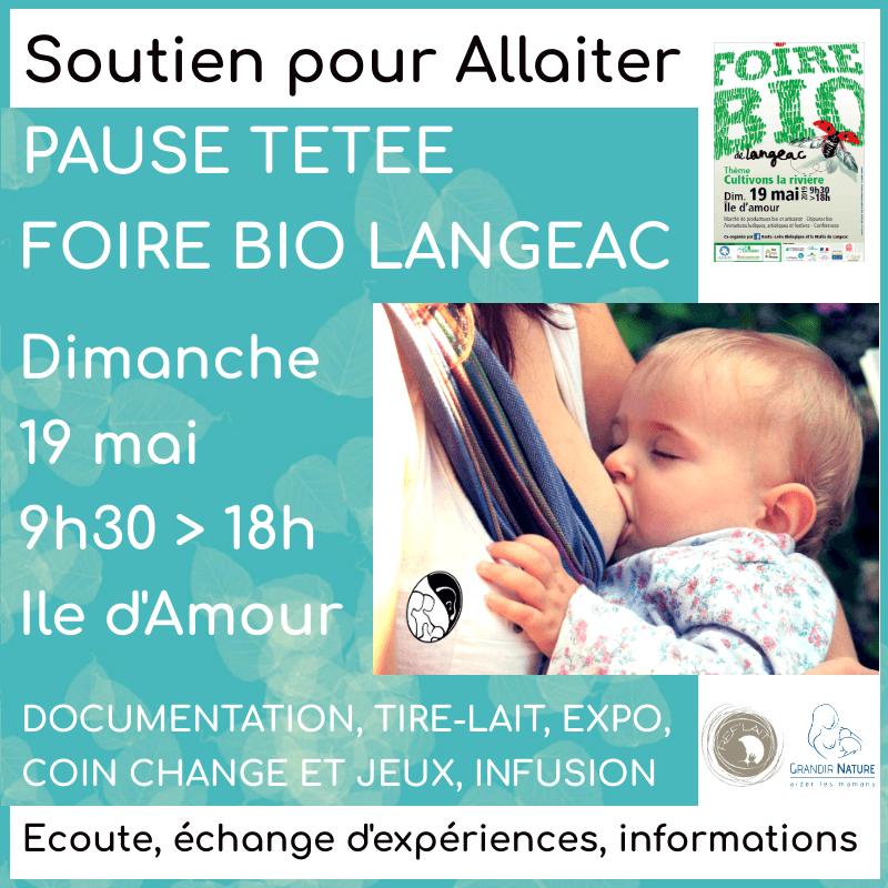 Visuel d'annonce de la Pause tétée organisée par A Lait'Coute à la Foire bio de Langeac le 19 mai 2019