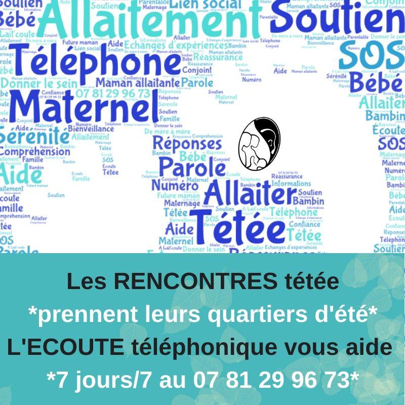 Les rencontres de soutien pour allaiter d'A Lait'coute font une pause en été. L'écoute par téléphone au 07 81 29 96 73, fonctionne toujours en juillet et août.