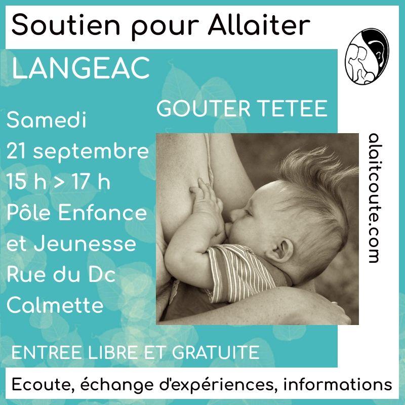 Visuel d'annonce de la reprise des rencontres allaitement maternel organisée par A Lait'Coute à Langeac en Haute-Loire le 21 septembre 2019