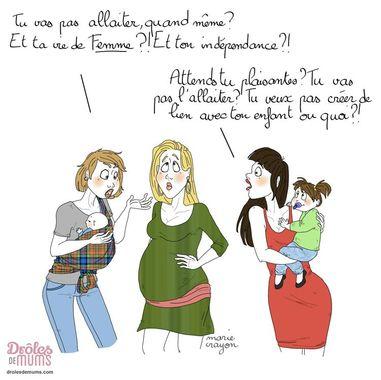 """Illustration humoristique de deux femmes portant leur enfant qui s'adressent à une femme enceinte sur la question """"allaiter ou pas"""""""