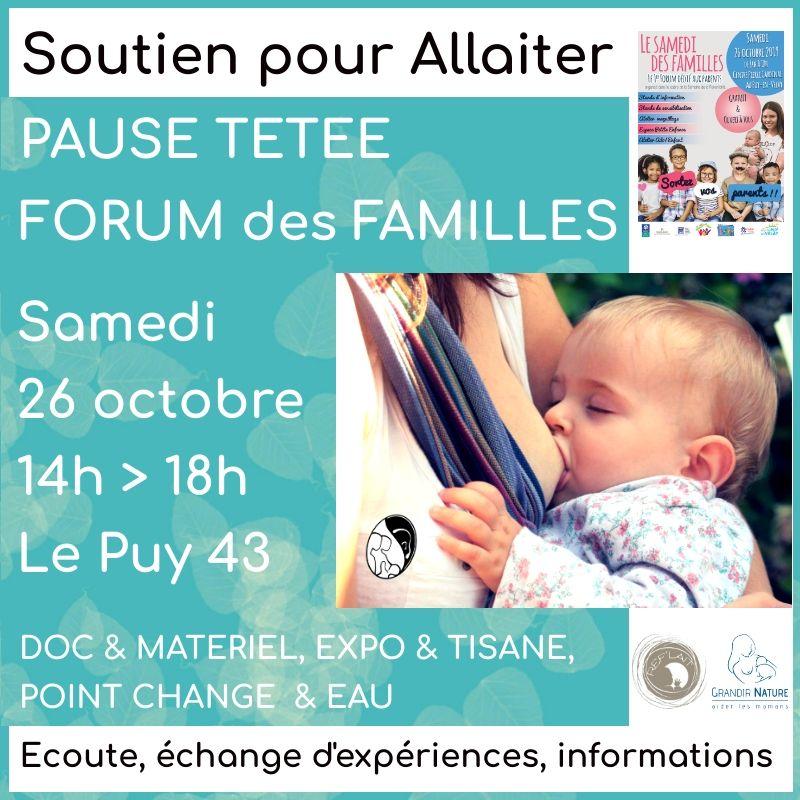 Visuel d'annonce de la Pause tétée organisée par A Lait'Coute au Forum Le Samedi des Familles au Puy-en-Velay le 26 octobre 2019