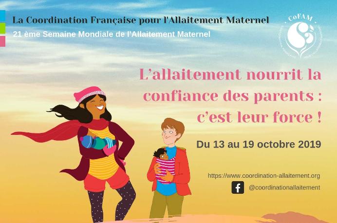 Visuel de la SMAM 2019 organisée par la CoFAM : femmes et bébés portés sur un fond coloré