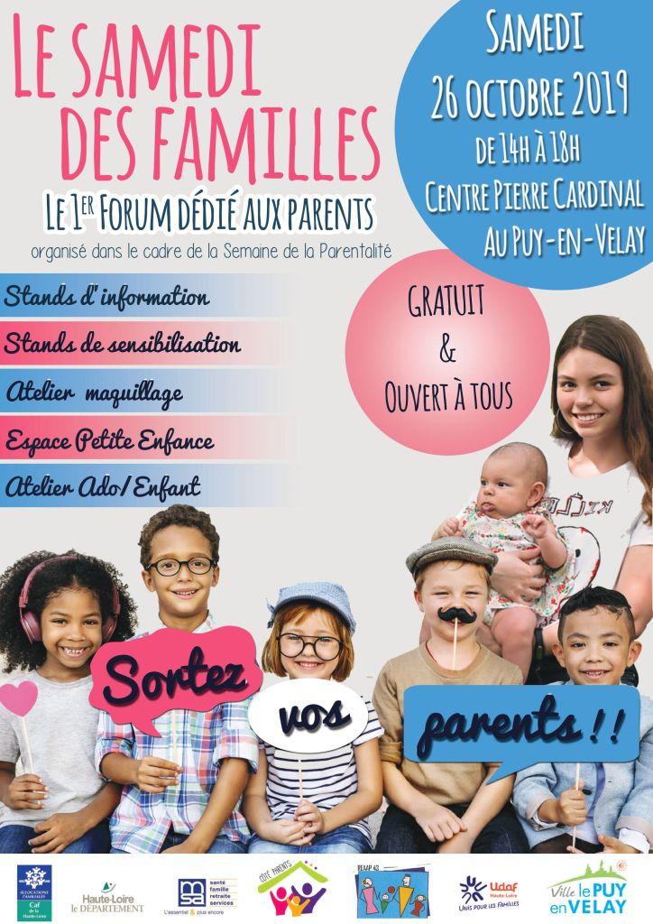 Affiche du Forum Le Samedi des Familles au Puy-en-Velay le 26 octobre 2019 dans le cadre de la Semaine de la Parentalité 43