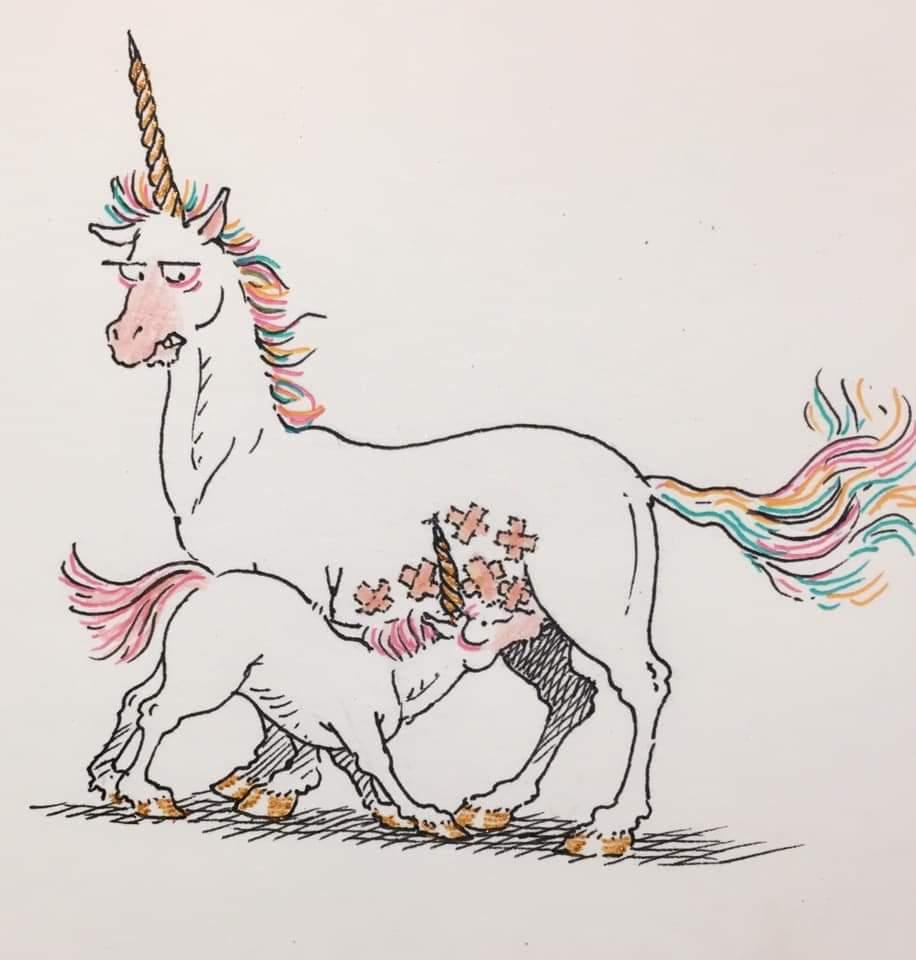 Illustration montrant une licorne allaitant un bébé licorne