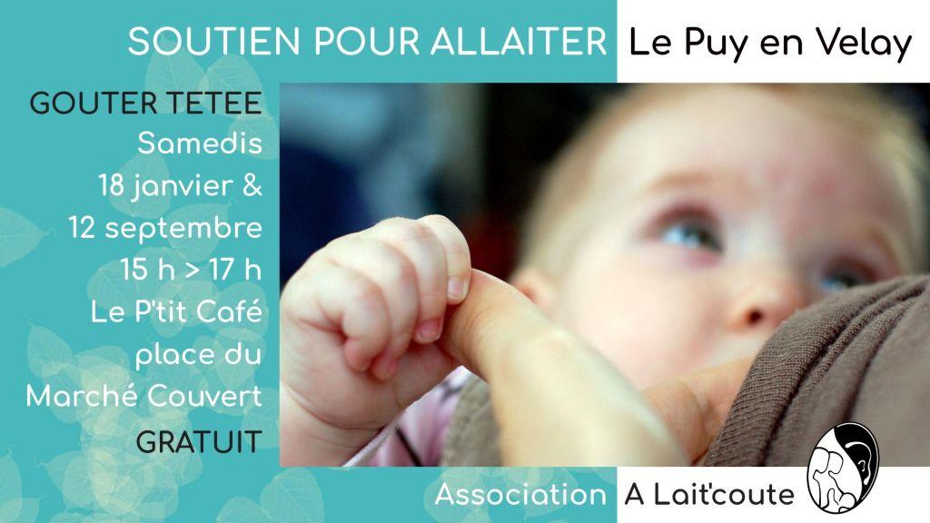 Visuel d'annonce de la rencontre-réunion allaitement maternel organisée par A Lait'Coute au Puy-en-Velay 43 le 18 janvier 2020