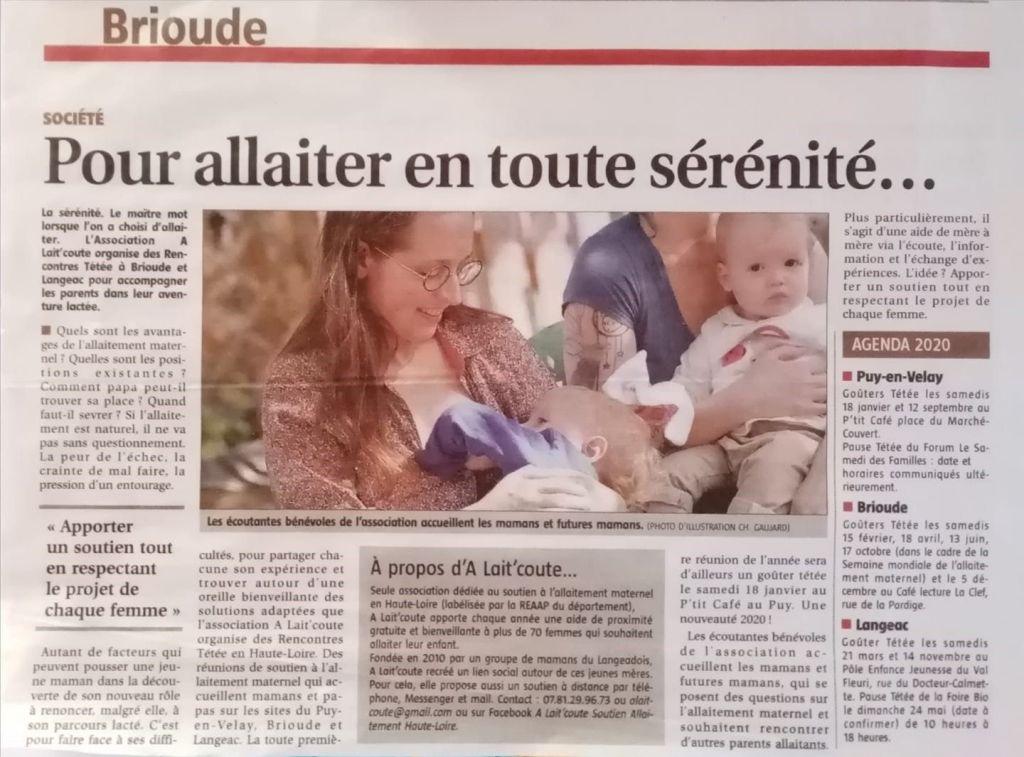 Photo de l'article paru dans le journal brivadois La Ruche du 10 janvier 2020 sur l'association A Lait'coute