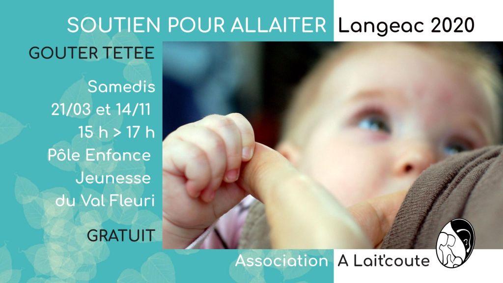 Visuel d'annonce de la rencontre-réunion allaitement maternel organisée par A Lait'Coute à Langeac 43 le 21 mars 2020