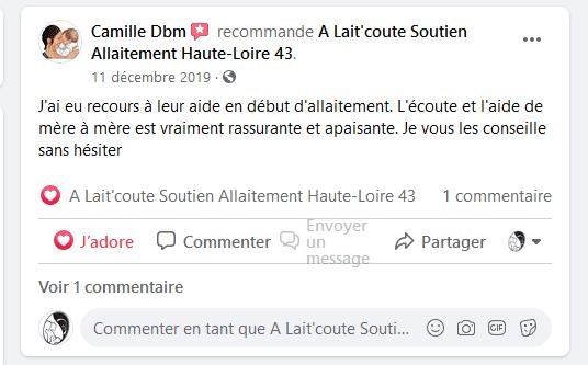 L'avis Facebook de Camille sur A Lait'coute