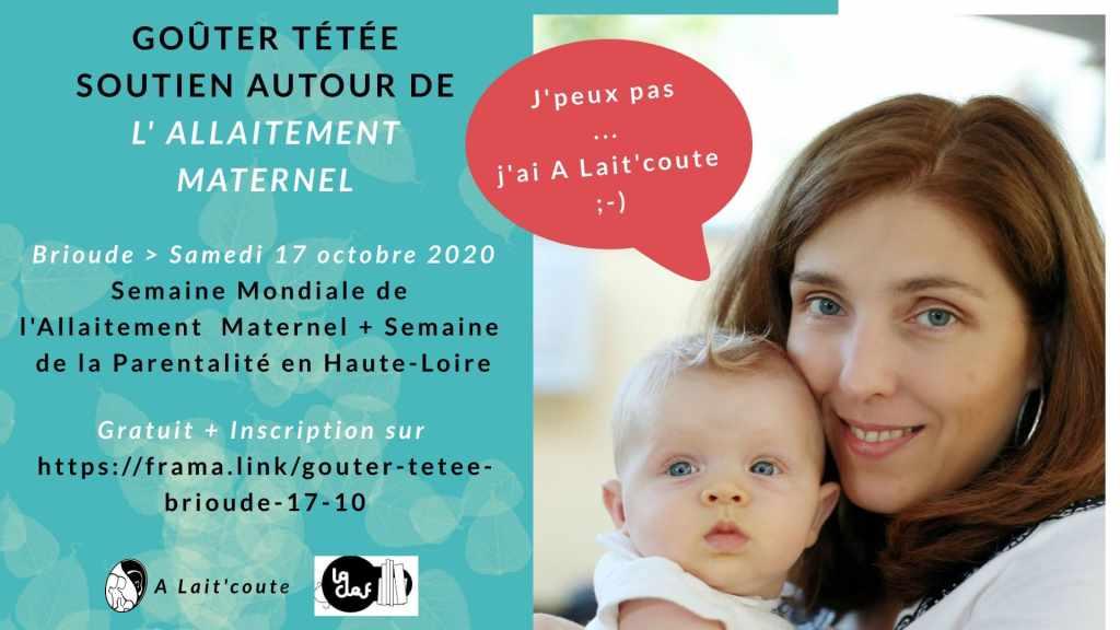 Visuel de la rencontre allaitement le 17 octobre 2020 à Brioude dans le 43 organisée par A Lait'coute