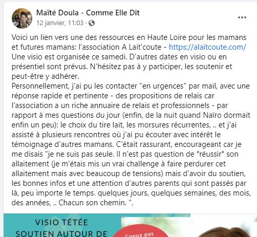 Témoignage de Maïté sur le Soutien d'A Lait'coute pour Allaiter