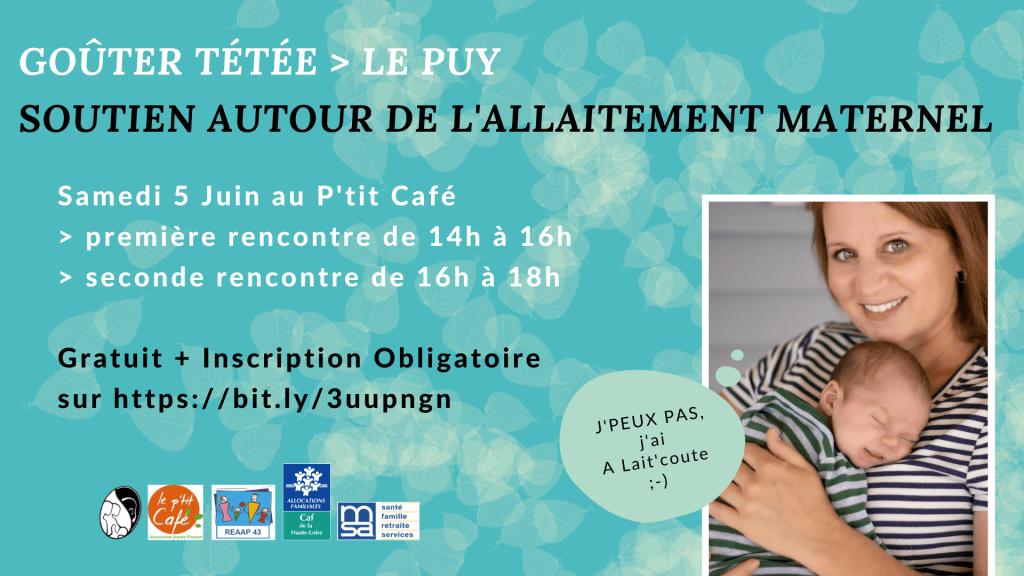 A Lait'coute organise une Rencontre Allaitement le 5 juin 2021 au Puy-en-Velay