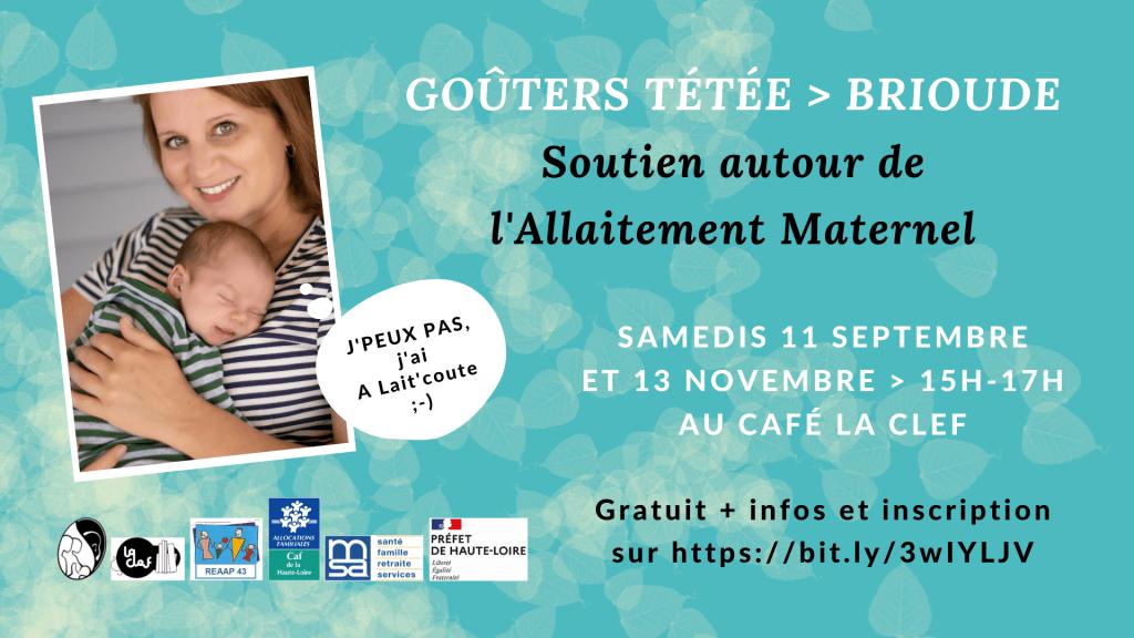 Les Goûters Tétée d'A Lait'coute en septembre et novembre 2021 à Brioude 43