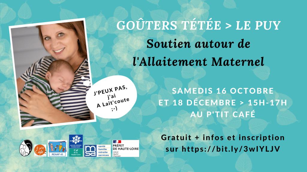 Les Goûters Tétée d'A Lait'coute en octobre et décembre 2021 au Puy 43